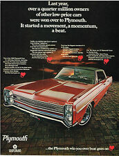 Vintage 1968 Magazine Ad Plymouth Fury Long Low Wide A Good Clean Design
