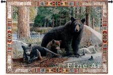 53x36 NEW DISOVERIES Bear & Cubs Wildlife Tapestry Wall Hanging