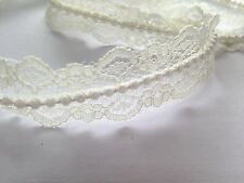 Vintage Style Lace Pearl Ribbon Trim Bridal Wedding x 1 Metre 20mm Ivory