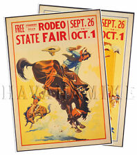 SET of 2 1930 Rodeo Bucking Bronco Vintage Repro Horse Art Print Poster 18x24
