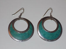 RARE Vintage Taxco Mexico STERLING SILVER Inlay TURQUOISE Dangle Pierced EARRING