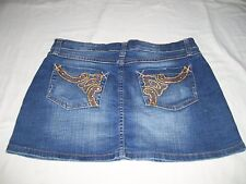 Southpole Womens Juniors Size 7 Embellished  Blue Jean Mini Skirt EUC