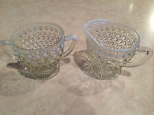 Fenton Hobnail Creamer and Sugar Bowl Clear White Trim