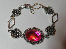VICTORIAN STYLE - DIAMOND ROSE - HOT PINK AC CRYSTAL SILVER PLATED BRACELET DR