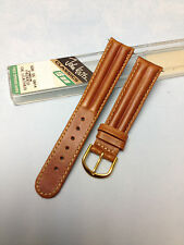 18mm BROWN JOHN WEITZ CLASSICS PADDED OIL LEATHER VINTAGE WATCH BAND NEW in CASE