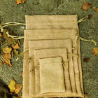 4 Size Natural Jute Hessian Drawstring Pouch Gift Vintage Wedding Favor Bags