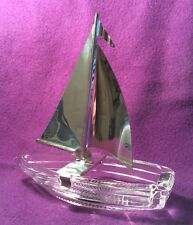 Vintage Glass Sailing Boat Ash Tray w/Chrome Sail Nautical Trinket Box Dish Ship