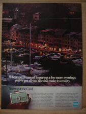 1985 American Express Credit Card Travel Italy? Harbor Boat Vintage Print Ad 165