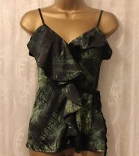 Karen Millen Green Forest Print Frill Panel Drape Jersey Black Cami Top 8 36