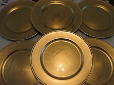 "6 Gold Leaf Chargers Beaded Edges 13"" Acrylic Service Plates + Buffet Stand"