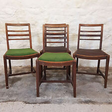 C1940's Set of 4 Oak Ladderback Kitchen Dining Chairs - Vintage