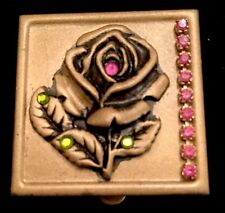 Rose Metal Pill Or Trinket Box Adorned With Swarovski Crystals