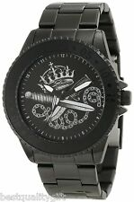 NEW-MARC ECKO POLISHED BLACK TONE+KNIFE,CROWN,CHAIN DIAL DESIGN WATCH E8M018MV