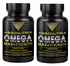 Two Bottles of Absonutrix Omega 3 Max Fish Oil EPA-800 DHA-600