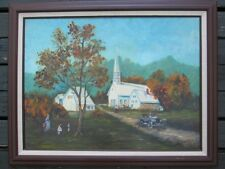 Original Oil Painting COUNTRYCHURCH Framed Estate Antique Signed Louise Griffith