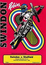 Speedway Programme SWINDON ROBINS v SHEFFIELD TIGERS Sept 1993