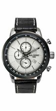 NEW Paul Perret 14088 Men's SOREL Silver Hand Black Leather Chronograph Watch