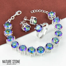 Wholesale Set 3 Pcs Rainbow Mystic Topaz Gems Silver Bracelet Ring Earrings Sz 9