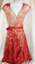 FEMININE Red White Floral Silk Viscose Sheer Wrap Dress US 6 AUS 10 UK 12