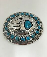 Native American Sterling Silver Handmade Turquoise   Belt Buckle