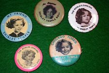 Five (5) Vintage,old, SHIRLEY TEMPLE Pin Backs