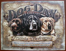 Dog Day Acres,Tin Metal Welcome Sign,Made in USA,Retriever,Pets,Wall Art