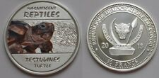 Congo 2013 Large Silver Color  Proof 30 Francs - Turtle -mintage 3000