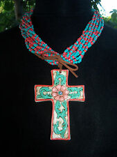 NWOT~Western Multi Strand Seedbead Necklace Painted Clay Cross With Earrings