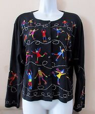 Vintage Michael Simon Lite Ice Skating Skaters Crop Sweater Cardigan Top Sz XL
