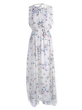 Women's S/M Fit White with Colorful Birds Print Gathered Neckline Maxi Dress