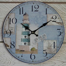 Shabby Rustic Round Wooden Nautical Wall Clock Blue & White Beach Lighthouse