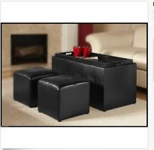 Black Storage Ottoman Coffee Table Faux Leather Furniture Set Living Room Tray