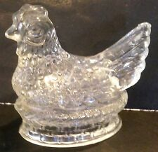 VINTAGE CLEAR GLASS HEN ON NEST EMPTY CANDY CONTAINER