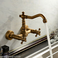 Antique Swivel Kitchen Faucet Wall Mount (Antique Brass Finish) Two Handles US