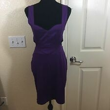 Moon Collection Purple Strappy Caged Fitted Body Con Dress L Back Zip