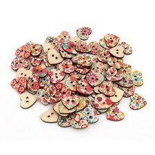 100pcs Mixed 2 Holes Printed Heart Shaped Wood Buttons Sewing Scrapbooking Craft