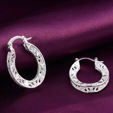 "Ladies Fashion Jewelry 925 Sterling Silver 1"" Filigree Design Hoop Earrings"