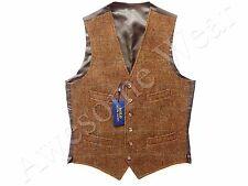 New Ralph Lauren Polo 100% Wool Beige Brown Plaid Vest SLIM 38 R