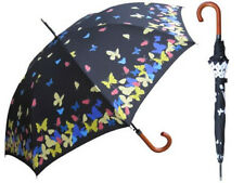 "46"" Arc Auto Open Color Changing Butterfly Stick Umbrella Wooden Handle 35"" long"