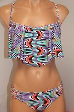 NWT Profile Blush Swimsuit Bikini Skirt 2pc set Sz M Bra M DD/E cup Multi