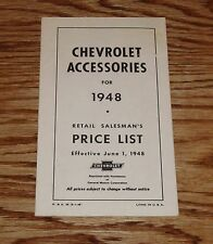 1948 Chevrolet Car & Truck Accessory Listing & Prices Brochure 48 Chevy