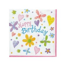 """Cute Birthday"" BUTTERFLIES HEARTS FLOWERS Party Supplies SMALL BEVERAGE NAPKINS"