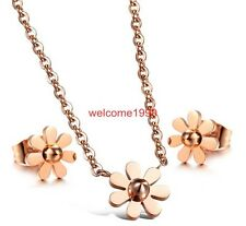 Exquisite Daisy flowers Studs Earring & Necklace Stainless steel Jewelry set