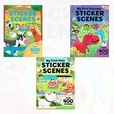 My First Sticker Scenes Collection 3 Books Set Pets,Dinosaurs,Farm Paperback NEW