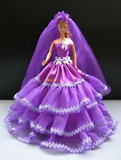 Purple Wedding Gown Party Handmade Outfit for Barbie, Dolls Dress up Clothes