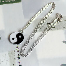 Black & White Chinese Yin/Ying Yang/Feng Shui Charm Pendant Necklace