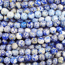 DENIM LAPIS 8MM ROUND GEMSTONE BEADS AA+ NATURAL