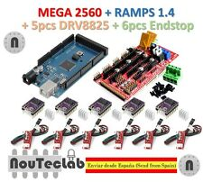 Mega 2560 R3 + RAMPS 1.4 Control Panel + 5pcs DRV8825 Stepper + 6pcs Endstop
