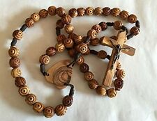 "33"" BETHLEHEM OLIVE WOOD Intricate Christian Wall Rosary with Heart Centerpiece"