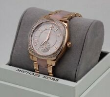 NEW AUTHENTIC MICHAEL KORS BRYN ROSE GOLD PINK CRYSTALS WOMEN'S MK6135 WATCH